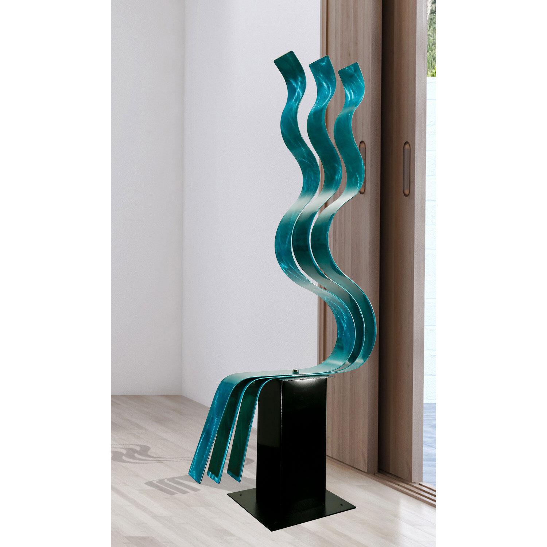 LARGE AQUA SCULPTURE Modern Abstract Metal Garden Decor ...