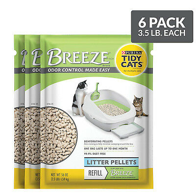 Purina Tidy Cats Breeze Litter System Cat Pellet Refills (6 Packs  3.5 lb Pouch)