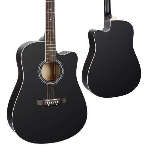 41in Beginner Acoustic Cutaway Guitar Set w/Case Strap Capo Strings Black Acoustic Guitars
