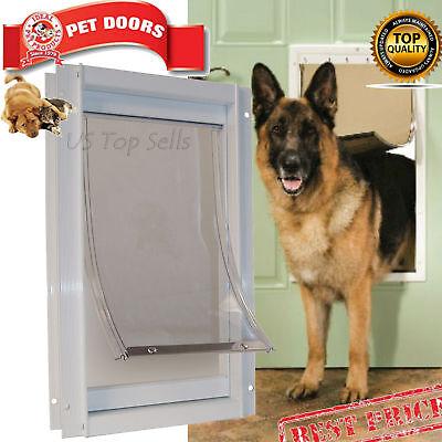 "Extra Large Pet Dog Door 10-1/2"" X 15"" Flap Telescoping Frame Gate Secure Luxury"