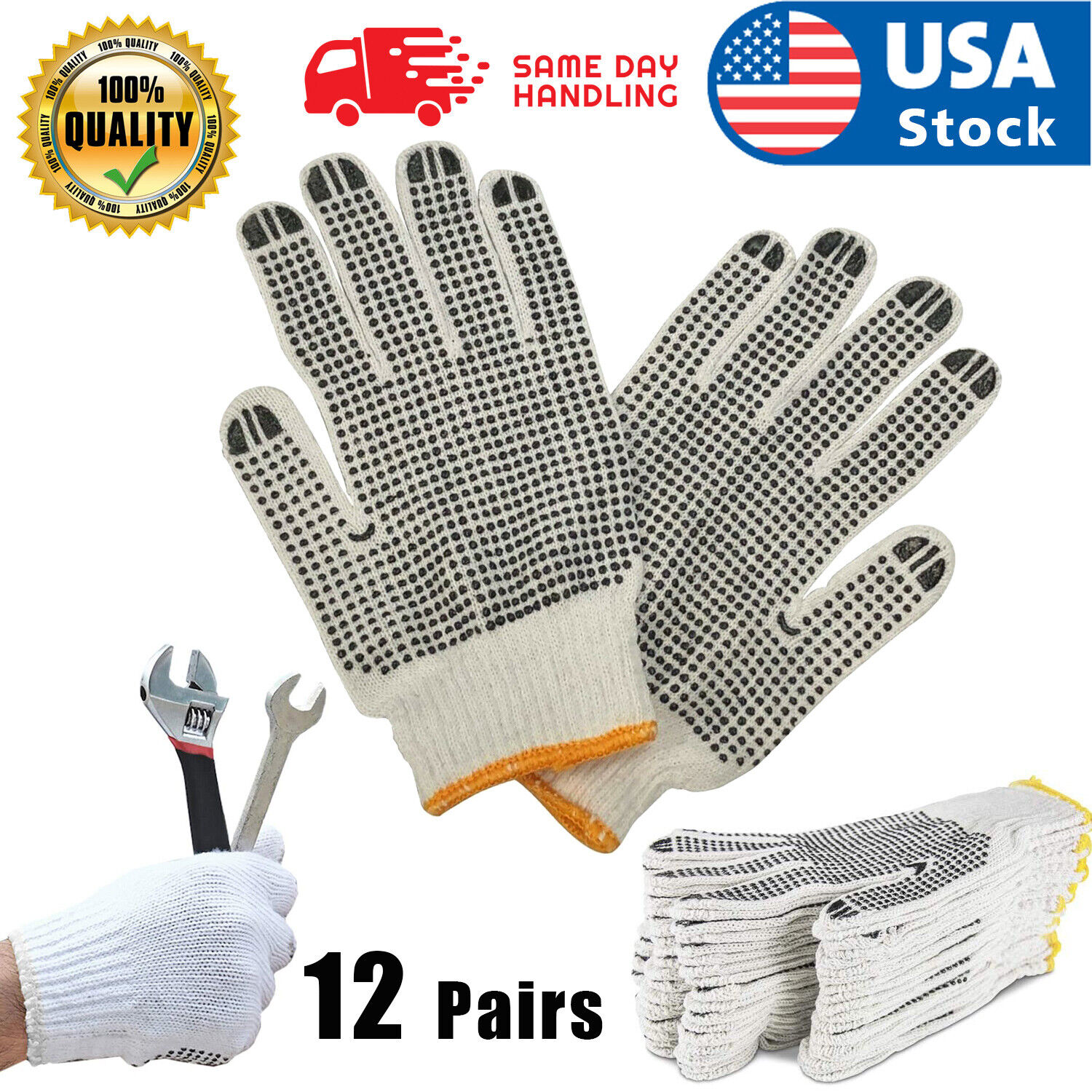 12 PAIRS WHITE POLY COTTON STRING KNIT WORK SAFETY GLOVES Nylon Glove Business & Industrial