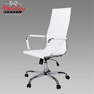 White High Back Pu Leather Ergonomic Task Office Chair Executive Computer Desk