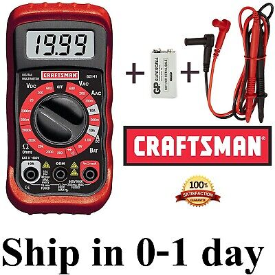 New Craftsman Digital Multimeter With 9v Batterycase Volt Ac Dc Tester Meter