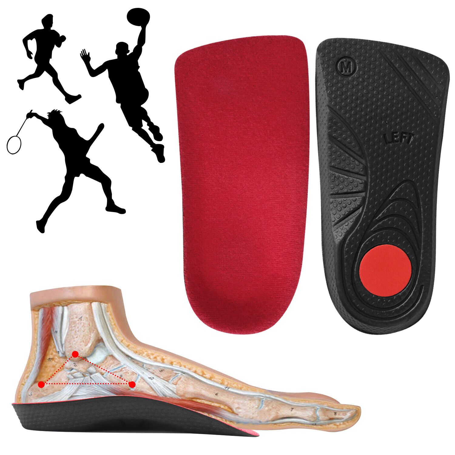 3/4 Orthotic Shoe Insoles Arch Supports Plantar Fasciitis In