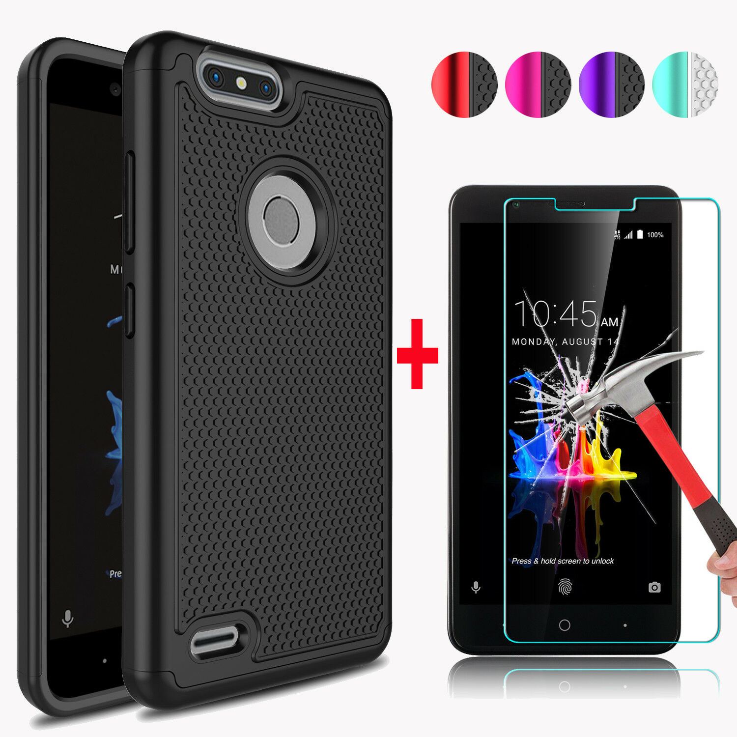 Купить ZENIC Combo 2 in 1,Tough Protection - For ZTE Blade Z Max Z982 Phone Case Cover + Tempered Glass Screen Protector Film
