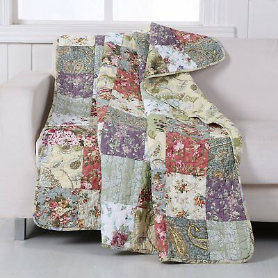 - Cotton  Patchwork Quilt Front Blooming Prairie Floral Quilted Throw NEW