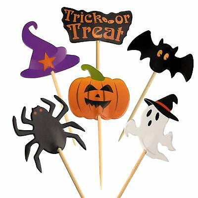 60 Pieces Halloween Cupcake Toothpick Toppers Flags Party Decoration Pumpkin