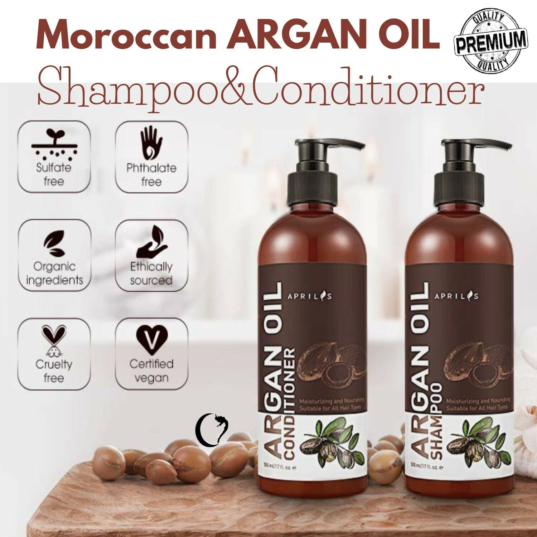 Organic Argan Oil Shampoo and Conditioner Set Hair Loss Grow