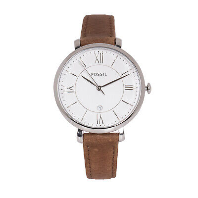 Fossil Jacqueline ES3708 Women's 36mm Silver Dial Brown Leather Strap Watch
