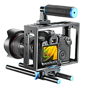 NEEWER Aluminum DSLR Camera Cage Kit for Canon Nikon w/15mm Rod RIG