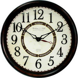 Better Homes & Gardens 20 Calendar Wall Clock Brown Plastic Frame Office Living