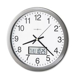 New Howard Miller Chronicle Wall Clock with LCD Inset 14-inch Grey No Tax