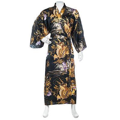 Negro Dragón y Tigre Seda para Hombre Kimono Japonés
