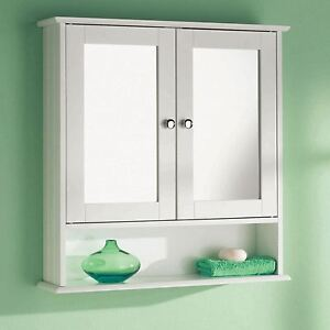 White Wooden Double Mirror Door Indoor Wall Mountable Bathroom Cabinet Shelf New