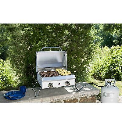 OUTDOOR PORTABLE STAINLESS STEEL 2 BURNERS GAS BBQ GRILL WITH COVER 20,000 BTU