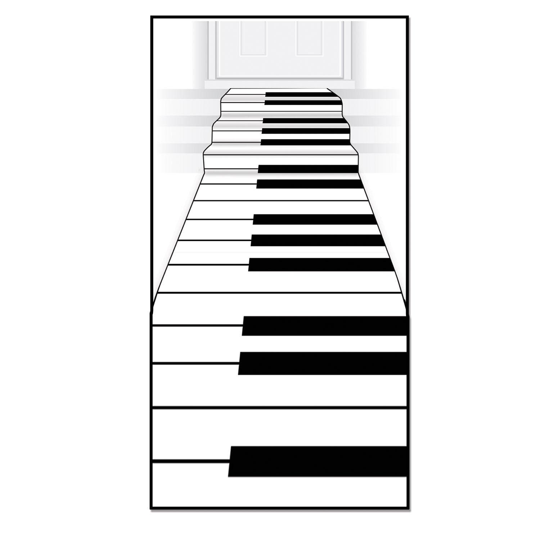 24-Inch by 10-Feet Beistle Piano Keyboard Runner White//Black 54235