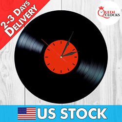 NEW Vinyl Record Vintage Home Decor Gift Designer Wall Clock Red LP Modern Art