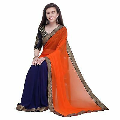 Orange Blue Half n Half Saree Party Wear Indian Ethnic Wedding Designer Sari, used for sale  Shipping to Canada