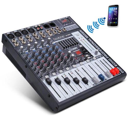 BOYTONE 6 Channel BLUETOOTH Audio Mixer USB Port, 7 Band EQ, 16 DSP Effects