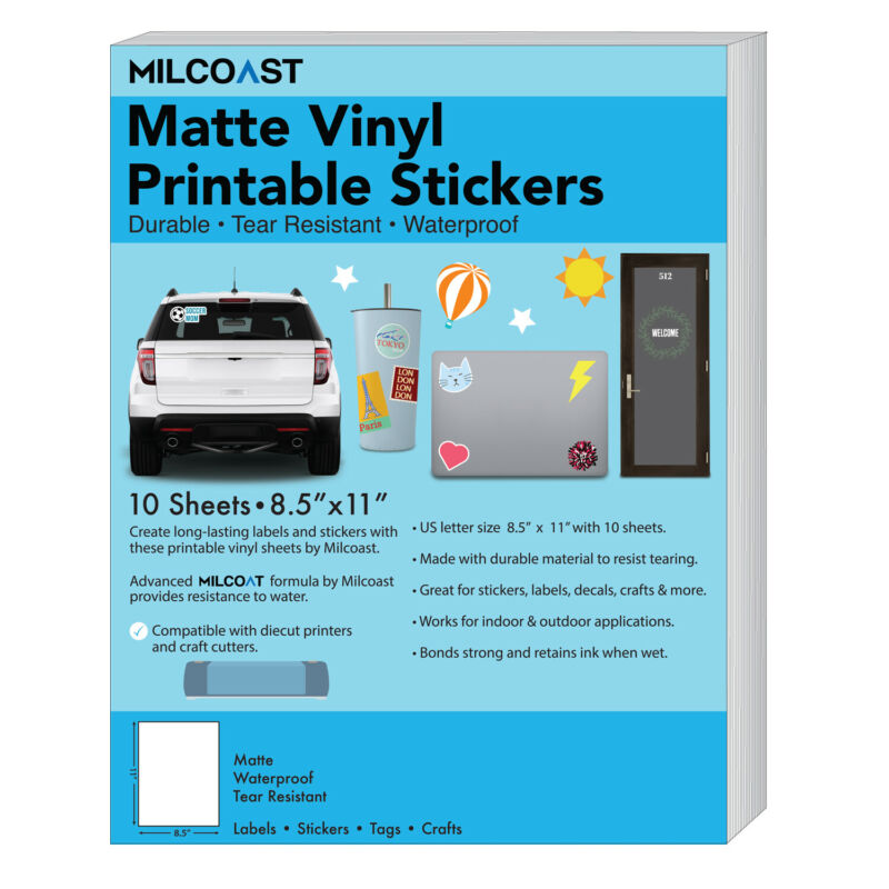 Milcoast Matte Waterproof Printable Vinyl Full Sheet Sticker Paper Labels