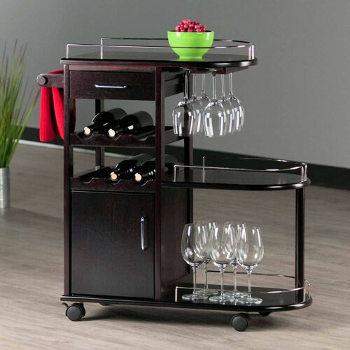 Rolling Home Bar Cart Wine Glass Rack Liquor Storage On Wheels Small Room Spaces