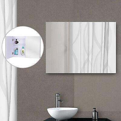 HOMCOM LED Wall Mirror Illuminated Cabinet Doble Door Bathroom Frameless