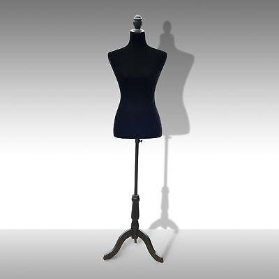 Female Dress Mannequin Torso Wedding Clothing Display Black Stand Tripod