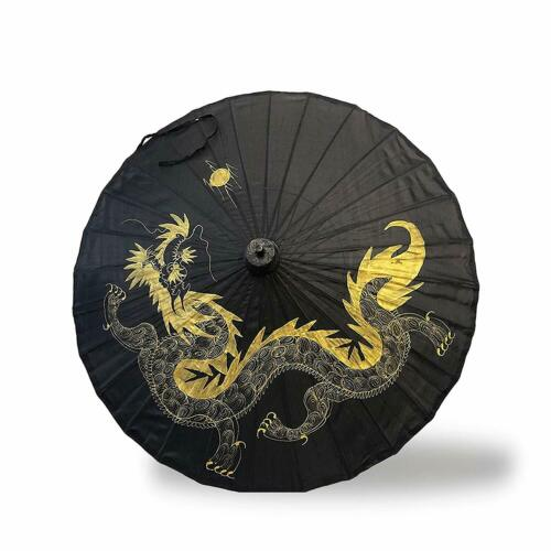 """35"""" Inch Classic Black and Gold Floral and Elegant Dragon Pattern Bamboo umbrela"""