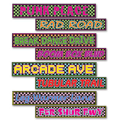 4 pc Totally 80's Street Signs Cardboard Cutout Birthday Party Decorations](Cut Out Decorations)