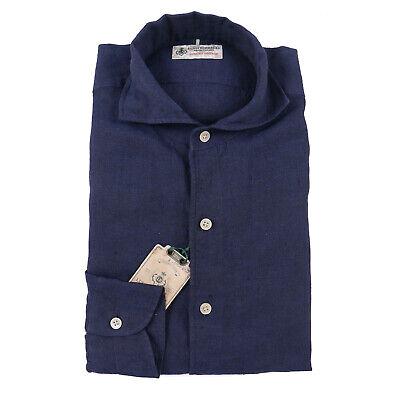 Luigi Borrelli Dark Blue Melange Extrafine Linen Button Front Shirt L NWT