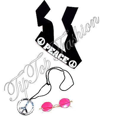 John Lennon Maskenkostüm Satz Hippie Stirnband Brillen Halskette - John Lennon Kostüm Brille