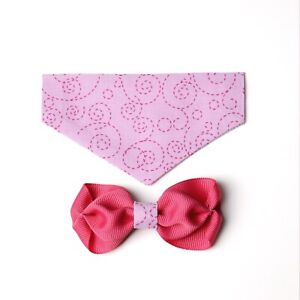 Pink Swirl Over the Collar Bandana with Matching Bow Tie