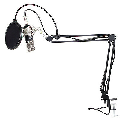 TONOR Professional Condenser Microphone Studio Recording Mic W/ Stand Black