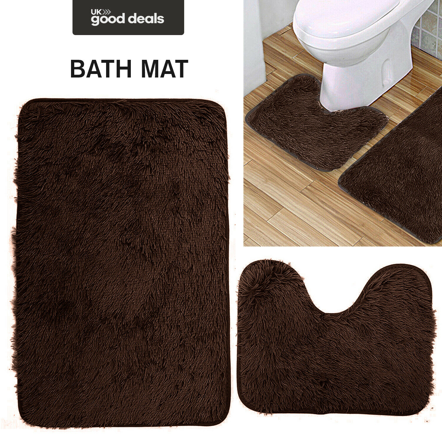 Soft Quality Shaggy Bath Mat Pedestal Mat Set Non Slip Toilet Bathroom Rug Brown Ebay