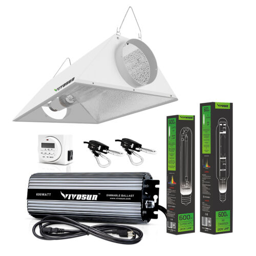 VIVOSUN 400w 600w 1000w Watt Grow Light Kit HPS MH Air Cooled Hood Set for Plant