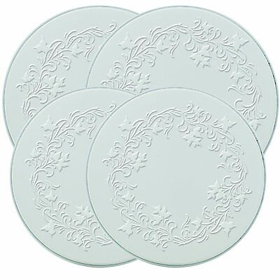 Electric Stove Top Range Round Embossed Design Burner Covers, Set of 4, White