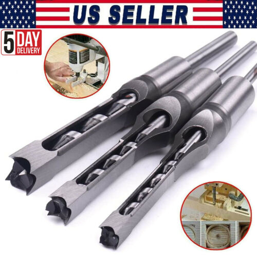 3x Woodworking Square Hole Drill Bits Set Wood Saw Mortising Chisel Cutter Tools