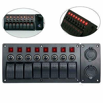 8 Gang Marine Boat Rocker Switch Panel Waterproof Red Led With Circuit Breaker