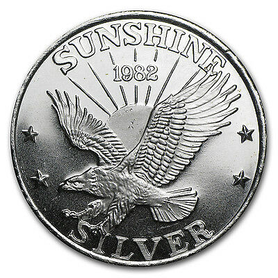 1 Oz Silver Round   Sunshine Mining  Vintage  Dated    Sku  77728