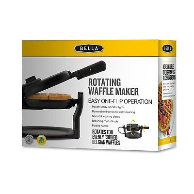Bella Rotating Belgian Waffle Maker  Pro Black  New Iron Electric