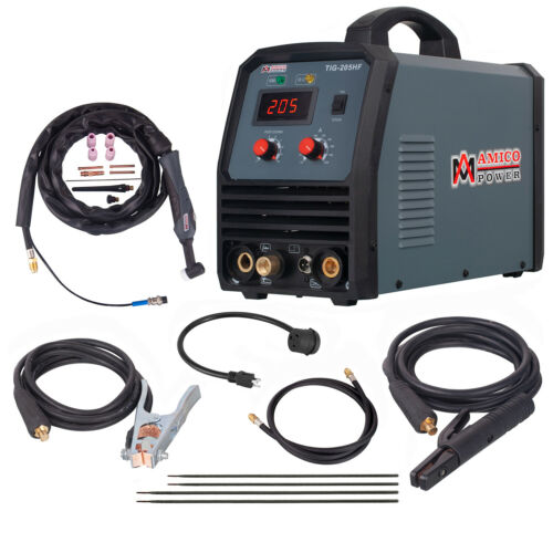 TIG-205HF, 200 Amp TIG Torch Stick Arc DC Inverter Welder, 100-250V Wide Voltage