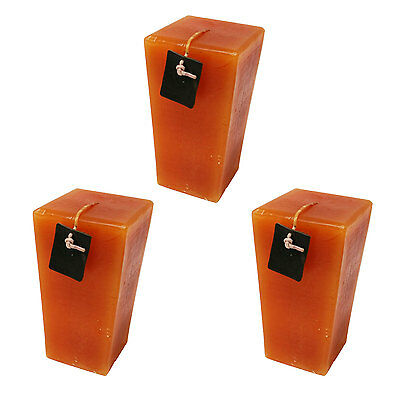 3 PCS Brown Candle Wick-Burning Tower square Pillar  - Expedited Shipping Brown Pillar Candle