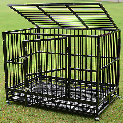 """48"""" Black Dog Crate Kennel Metal Pet Cage Playpen Portable w/Tray New Heavy Duty"""