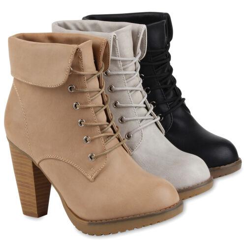 Blockabsatz Damen Stiefelette Pumps Schnürer Boots 95414 36 41 Schuhe