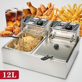 12L Dual Tanks Electric Deep Fryer Commercial Tabletop Fryer +Basket Scoop 5000W