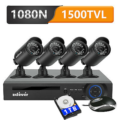 Zclever 8CH 1080N HDMI DVR 4 Outdoor 1500TVL HD Home Security Camera System 1TB