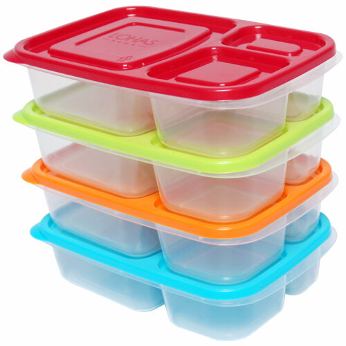 set of 4 plastic lunch box food bento container microwave portable storage ebay. Black Bedroom Furniture Sets. Home Design Ideas