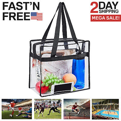 Clear Tote Bag Transparent Purse Secure Closure Handbag NFL Stadium Approved