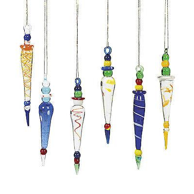 Glass Ornaments Bulk (12 Whimsical Glass Multicolored Tear Drop Icicle Christmas Tree)