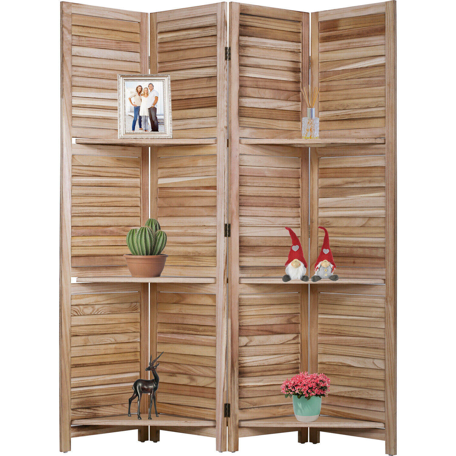 4 Panel Room Divider Folding Privacy Wooden Screen With Three Clever Shelf Furniture